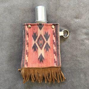 "Accessories - Trendy Stylish Tribal Canvas Flask w/ ""Shot"" lid"